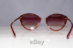 Prada Femmes Lunettes De Soleil D'or Cat Eye Es19 Art Deco 07u 967094 23433 Spr