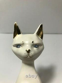 Rare 1961 Kay Finch Sitting Gold/white Figurine De Chat Made En California 5 1/2 In