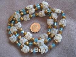 Rare 27.5 Collier Vintage Art Déco Perles En Verre Opalescent Cat Tchèque