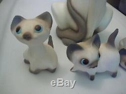 Rare! Anthony Freeman Mcfarlin Ca Poterie Chalk Félins Avec Kittens Set 1958