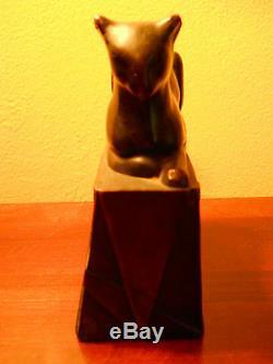Rare Art Antique Déco Pompéien Bronze Égyptien Cat Bookend Grand Bronze Patina