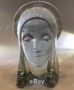 Rare Art Déco En Verre Madonna Par Guy Underwood Pour Bermondsey Verre Signé