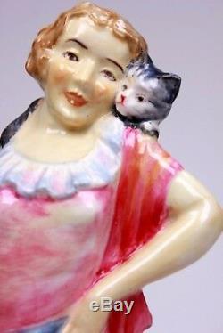 Rare Art Déco Jouer Mates Atlas Chine Grimwades Lady Et Cat Figurine Circa 1930