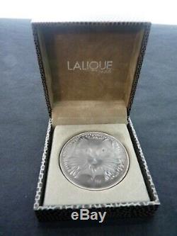 Rare Authentique France Lalique Chat Chat Satin Gris Cristal Broche En Poche