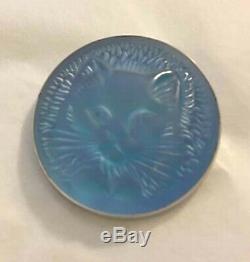 Rare Authentique Lalique Chat Chat Satin Bleu Cristal Broche Nouvelle Boîte Originale