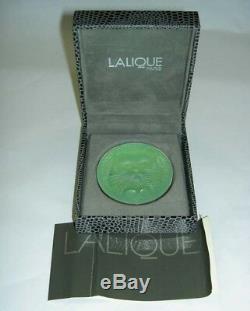 Rare Authentique Lalique Chat Chat Satin Vert Cristal Broche Nouvelle Boîte Originale