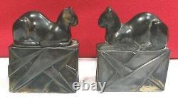 Rare Bronze Egyptian Cat Bookends Bronze Patina Art Déco