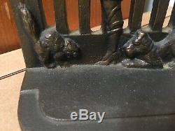 Rare Cast Antique De Fer Mars Fille Avec Bookends Terrier Dog & Cat Art Déco