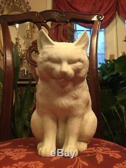 Rare Des Années 1800 En Taille Réelle, Porcelaine Hirado Blanche, Dormant, Assis, Cat, Exemple