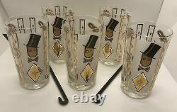 Rare! Ensemble De 5 Vintage Glenshaw Glass Co Chapeau De Haut Guy Lunettes + 2 Black Cane Stir