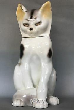 Rare Goldscheider Antique Art Déco Cat Amovible Tête Allemande Signé