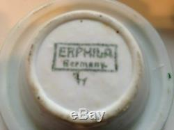 Rare Porte-cendrier En Porcelaine Pour Chat Et 5 Cendriers-erphila-allemagne Vintage Art Déco
