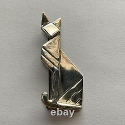 Rare Vintage Art Déco Origami Sterling Cat Brooch/pin