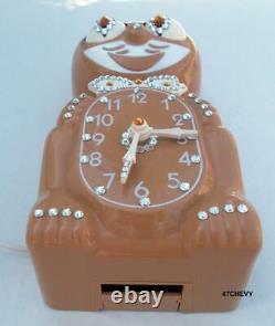 Rare Vinture Electrique 60s Mocha Kit Cat Klock-kat Clock-origin Motor Rebuilt-usa