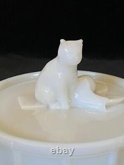 Rares Portieux Cat On Drum Verre De Lait Recouvert D'antique, Signé Vers 1933 #2