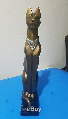 Retro Boxist Art Deco 1996 Vtg Austin Sculpture Statue Chat Egyptien 17 Kinder