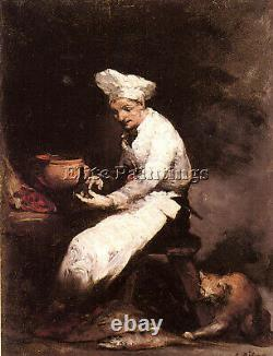 Ribot Theodule The Cook And The Cat Artist Painting Oil Canvas Repro Art Déco