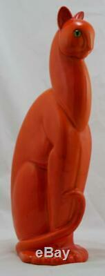 Royal Haeger 15.5 Art Deco Chasseur Chat Avec Glass Eye En Mandarin Orange Glaze