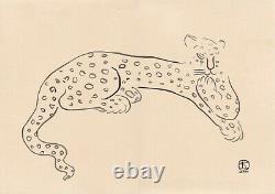 Sanyu Style Chinois Encre Française Dessin Papier Leopard Chat Art Déco Chang Yu