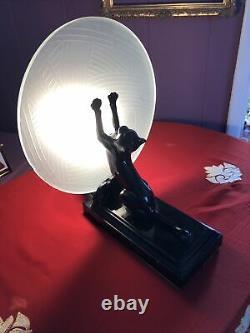Sarsaparilla Blown À La Main En Verre Frankart Cat Lampe Art Deco