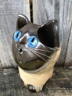 Schaer Cat Australian Pottery Blue Eyes Siamois Grande Taille 15cm De Haut
