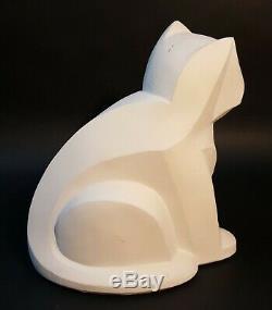 Sculpture De Chat Cubiste Par Karin Swildens Austin Productions 1989, Art Déco Blanc