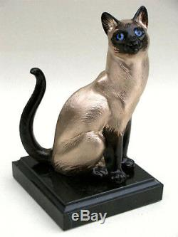 Sculpture De L'auteur Chat Siamois Bronze Piédestal Pierre Naturelle Livraison Gratuite