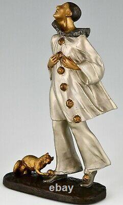 Sculpture En Bronze Art Déco Pierrot Et Chat Robert Bousquet France 1930