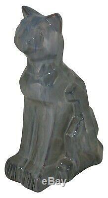 Shearwater Poterie Bleu Flowing Glaze Salon Figural Cubiste Chat