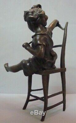 Signé Bronze Art Déco Art Nouveau Style Sculpture Statue Fille De Chat