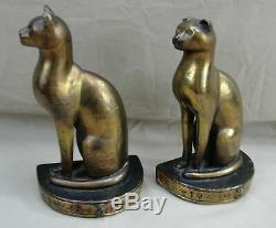 Signé H. Huber Clark Mish Art Painted Bronze Bookends Égyptien Deco Seated Cats