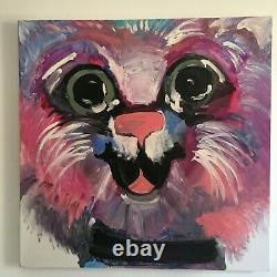 Signé Lori Clark Acrylique Painting Big Pink Cat 36 X 36 X 2 Large (paire)