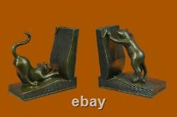 Signé Original Deux Livres De Chat Ludiques Fins De Livre Bronze Sculpture Déco Artwork