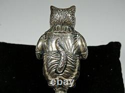 Solid Sterling Silver (. 925) Cat Baby Rattle Figure 30 Gram's