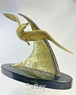 Splend. Sculpture Mouette En Vol Signee E. Guy Bronze Art Deco Statue Ca. 1930
