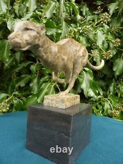 Sprinting Cheetah 2 Tone Bronze Statue Animal Figure Cat Hot Cast Sculpture