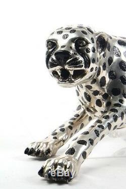 Statue Art Déco Guépard En Bronze Argenté Grand Chat Léopard Félin Panthère Lion Jaguar