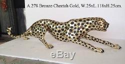 Statue Art Déco Guépard En Bronze Doré Grand Chat Léopard Félin Panthère Lion Jaguar