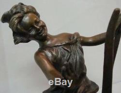 Statue Sculpture Chat Fille Style Art Déco Art Nouveau Solide Style Signe Bronze