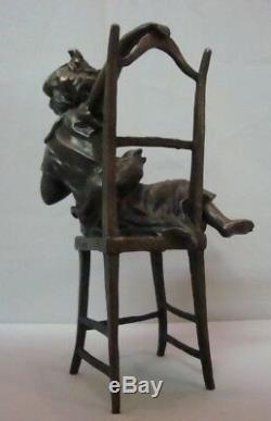 Statue Sculpture Chat Fille Style Art Déco Style Art Nouveau Panneau En Bronze Massif