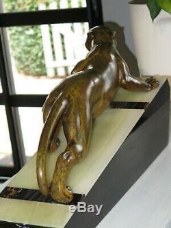 Statue Superb Panthère Art Déco Guy Debe Soutien Marbre