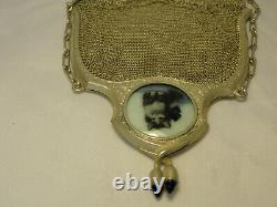 Sterling Silver Mesh Chain Purse Evening Hand Bag Avec Photo Chat Ornate Zc2-29