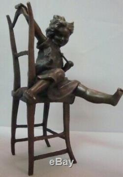Style Art Nouveau Statue Sculpture Chat Fille Style Art Déco Bronze Signé