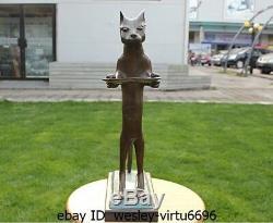 Style Occidental Bronze Marbre Résumé Cat Fruit Plate Art Déco Sculpture Statue