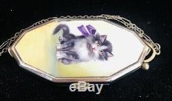 Superbe Art Déco Antique Peinte À La Main Émail Cat Vanity Bourse