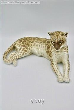 Superbe Figurine Allemande En Porcelaine De Nymphenburg Big Cat Leopard Th. M. Karner