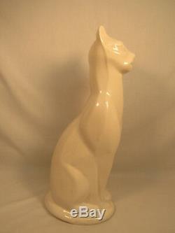 Superbe Vintage Grand Art Déco Chat Siamois Céramique Figural Statue 16 Grand