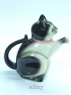 Théière Majolique, En Céramique, En Forme Comme Un Chat Assis, Art Déco