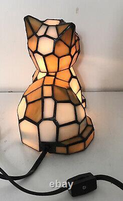 Tiffany Style Verre Teinté Tête De Bobble Cat Lamp Lumière De Nuit Avec Eyes Green 7 T