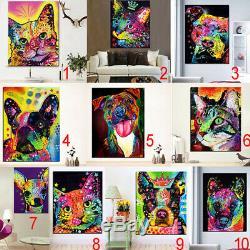 Toile Moderne Unframed Chien Chat Peinture À L'huile D'impression Mur D'art Affiches Suspendues